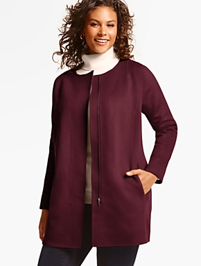Talbots Double-Face Zip-Front Topper